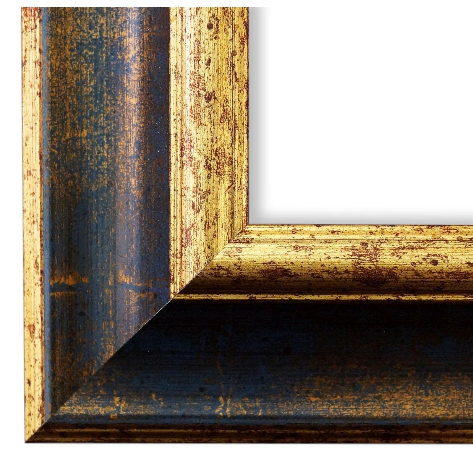 Bilderrahmen Blau Gold Antik Vintage Rahmen Acta 6,8 - NEU alle Größen