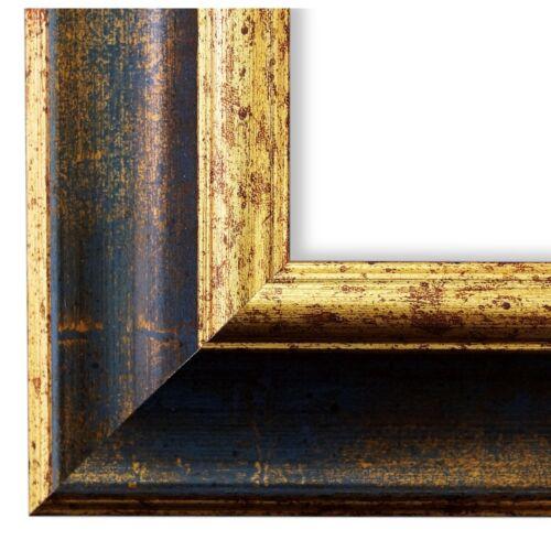 Neuf Toutes Tailles Cadre photo bleu or antique vintage cadre Acta 6,8