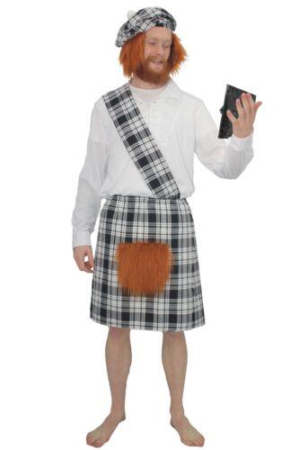 Unisex Black /& White Erskine Scottish Tartan Kilt Fancy Dress Costume Set