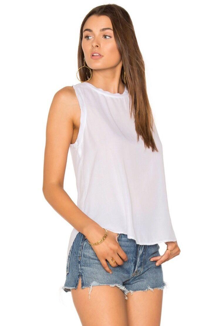 NEW CLOTH & STONE SZ M Bella Dahl Split Button Back Tank Top Weiß
