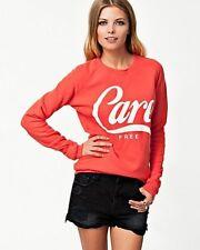 "New Zoe Karssen ""Care Free"" Orange Sweatshirt Size XS"