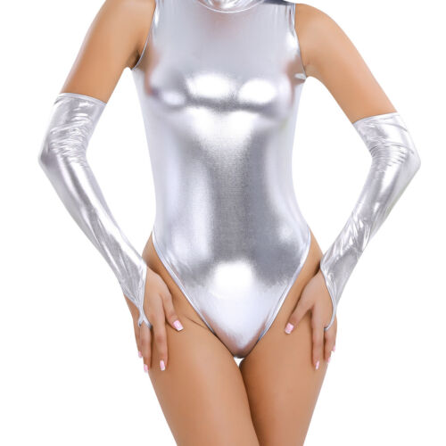 Mesdames Femmes Long Gants Aspect Mouillé Brillant Mitaines Clubwear Arm Warmers