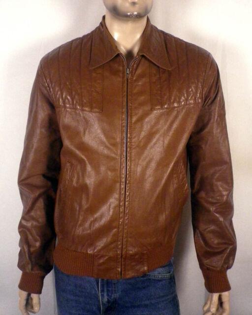 vtg 70s Sleek Brown Leather Jacket Biker Motorcycle Racer padded shoulders SZ M