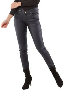 3cffadc3812b2 Women's stretch faux Leather Pants Skinny mid rise Pants Navy Blue ...