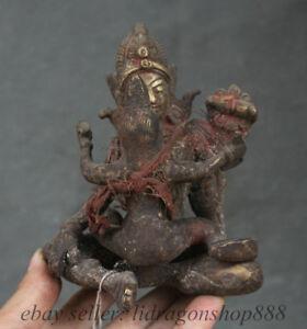 15cm-Vieux-Tibet-Tibetain-Bronze-Bouddhisme-Mandkesvara-Yab-yum-Bouddha-Statue
