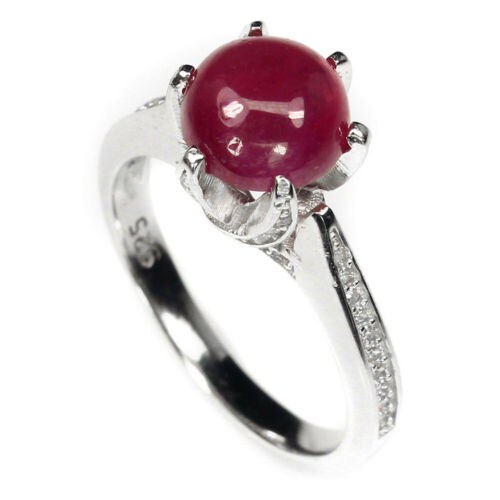 Round Cab 8mm Top Red Pink Ruby Cz 14k White Gold Plate 925 Sterling Silver Ring
