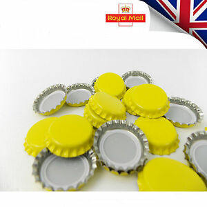 100-x-YELLOW-Crown-Caps-Capping-26mm-Home-Brew-BOTTLING-GLASS-amp-PET-26mm-UK