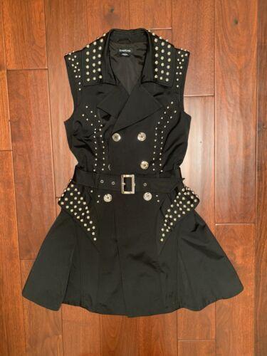 bebe Studded Belt Dress Trench Jacket Dress Black