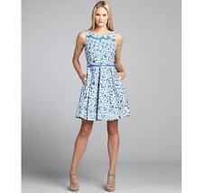 Taylor China Blue & White Floral Jacquard Cotton Woven Dress Size 12 NWT $148