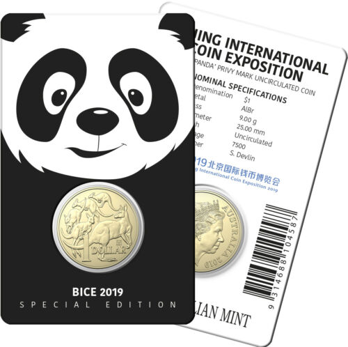 Beijing Coin Exposition Special Panda Privy Unc Coin 2019 $1 Mob of Roos