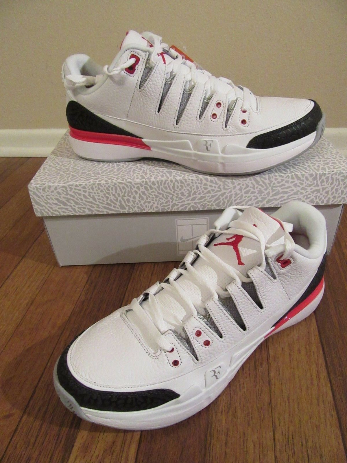 Nike - x aj3 zoom vapore taglia 12 jordan federer fuoco bianco rosso argento 709998 106