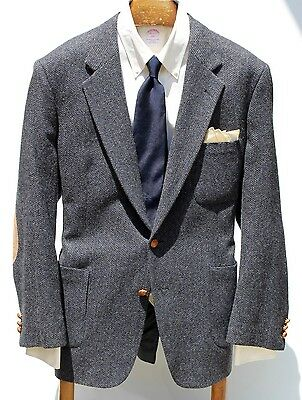 The Boston 46-Long Gentleman's Blue Wool Tweed Sport Coat - Patch Pockets - USA!