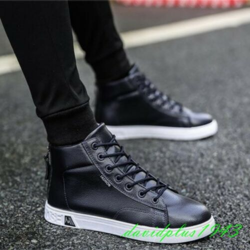 Mens Faux Leather Lace Up High-top Comfortable SolidSneakers Flats Board Shoe Sz