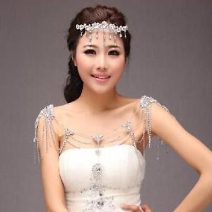 Vintage Rhinestone Shoulder Necklace Wedding Bridal Full Body Chain