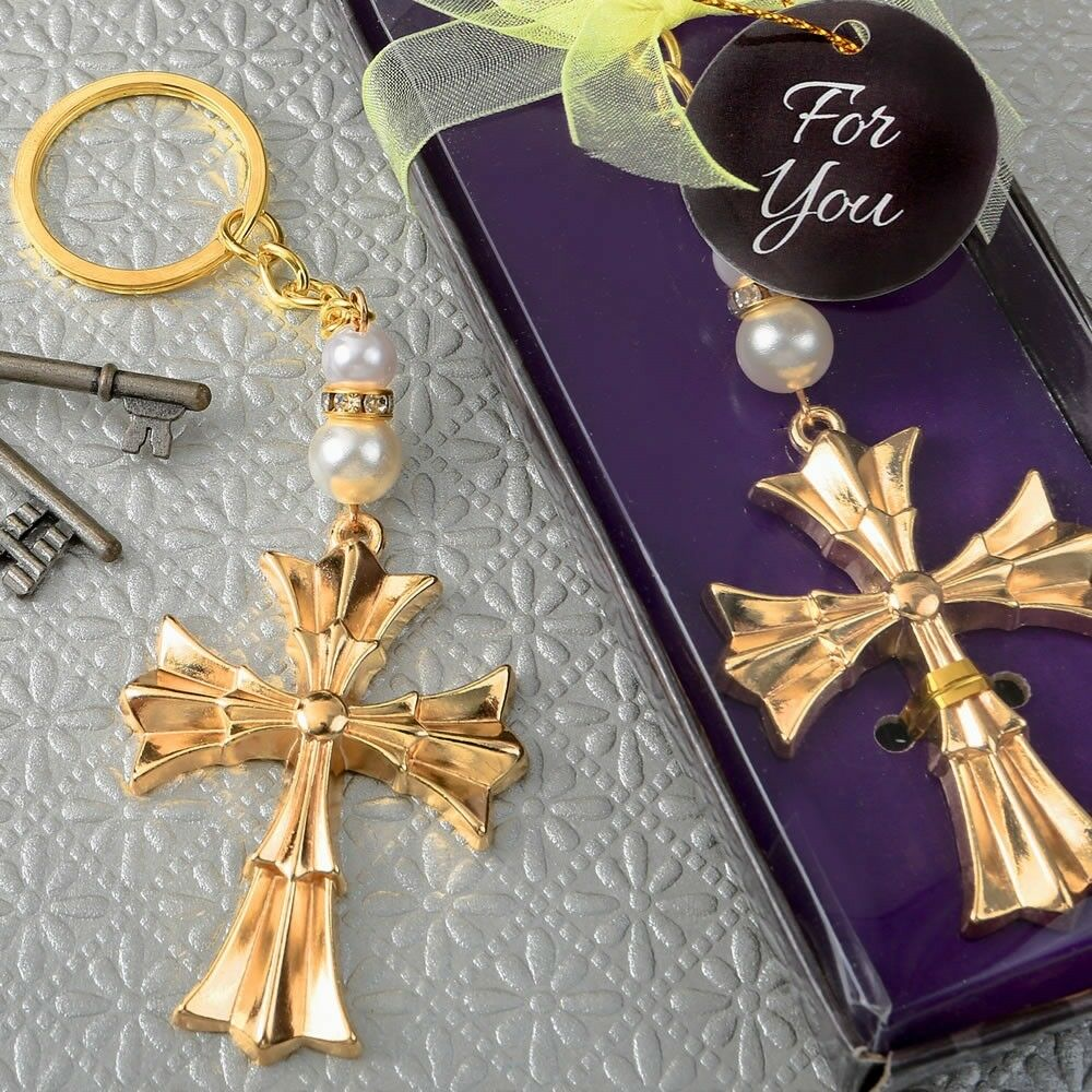 100 Ornate Gold Cross Keychain Christening Baptism Shower Religious Party Favors