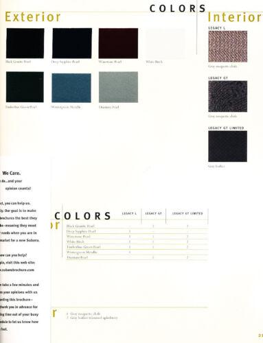 GT Limited 2001 Subaru Legacy 24-page Original Car Sales Brochure Catalog