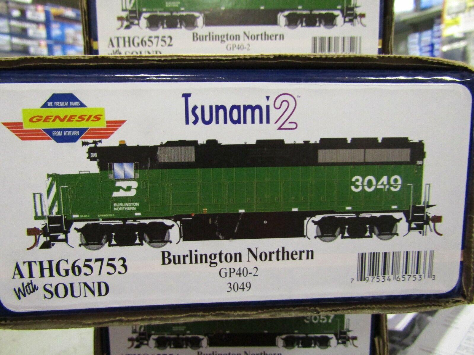 ATHEARN G65753 BURLINGTON NORTHERN GP40-2 HO TSUNAMI 2 2 2 DCC & SND ,DC  RD  3049 a4c756