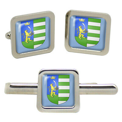 Select Gifts Indonesia Flag Cufflinks Engraved Tie Clip Matching Box Set