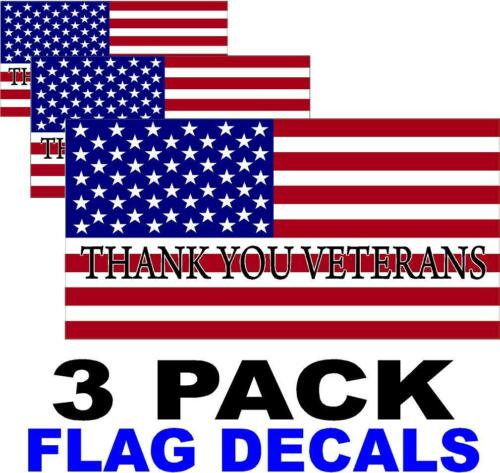 ARMY THANK YOU VETERANS REFLECTIVE American Flag USA Decal PATRIOTIC 3 PACK