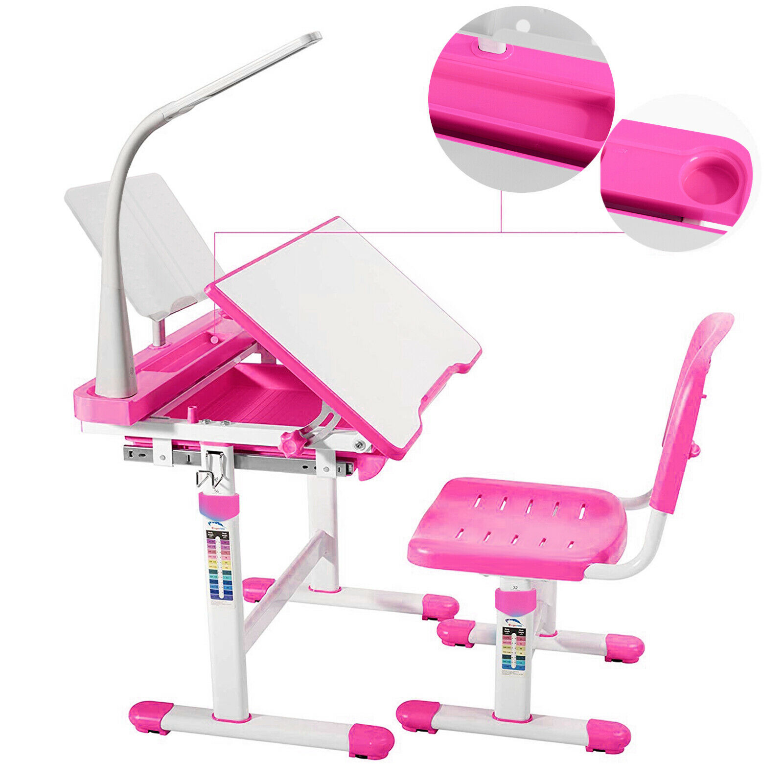 Adjustable Kids Children S Study Desk Chair Set Child Table With