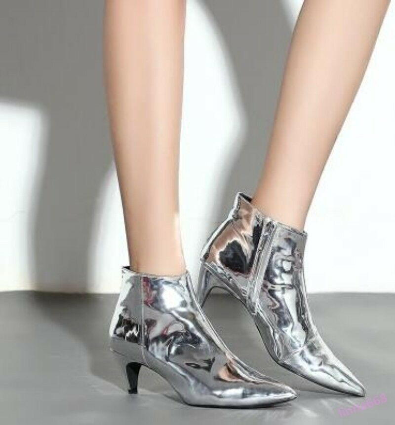 British Style Women's Ankle Boots Pointed Toe Metal Decor Mid Shiny Leather New