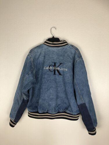 Calvin Klein Denim Varsity Jacket Size Small Vinta