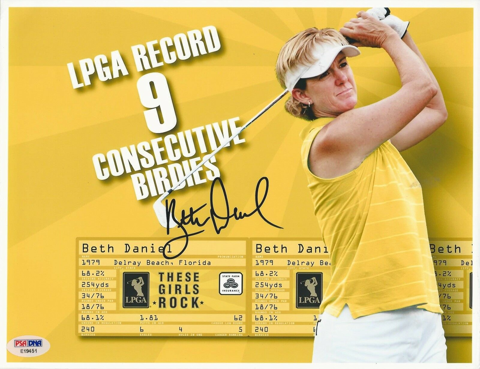 Beth Daniel LPGA Golfer signed 8x10 photo PSA/DNA #E19451