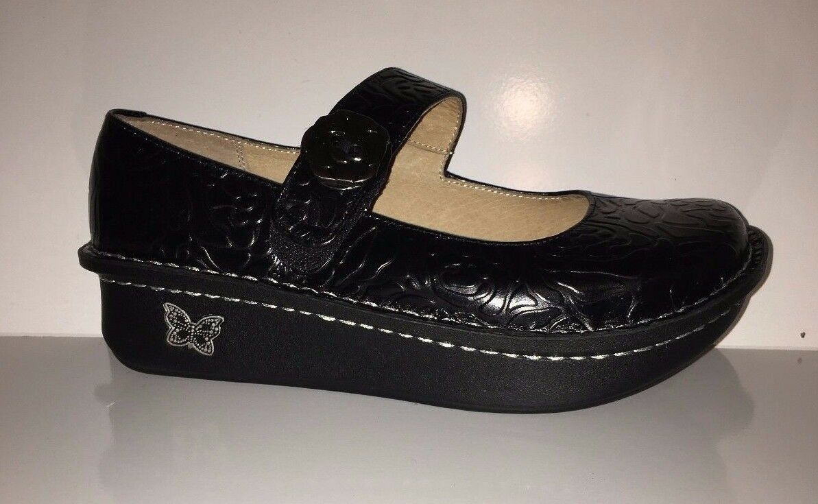 119 NEW  Alegria Leather Mary Janes w Embellishment Paloma Black shoes Sz 5 5.5