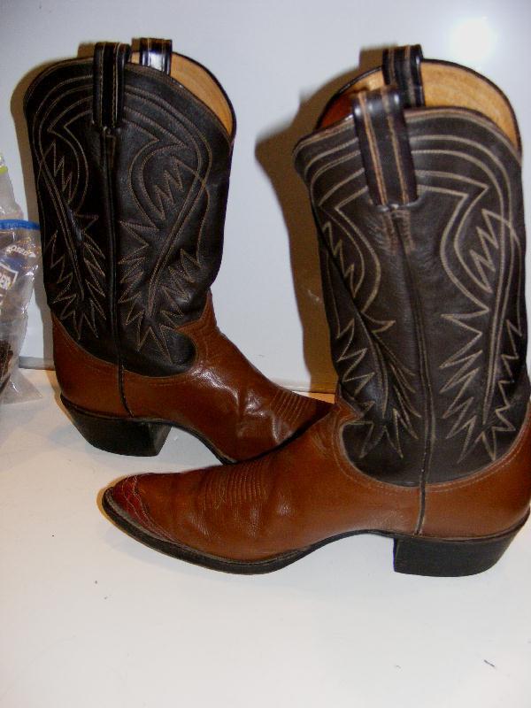TONY LAMA Cowboy WESTERN BOOTS Lizard WingTip Mens Saddle Brown Leather 10.5 Vtg