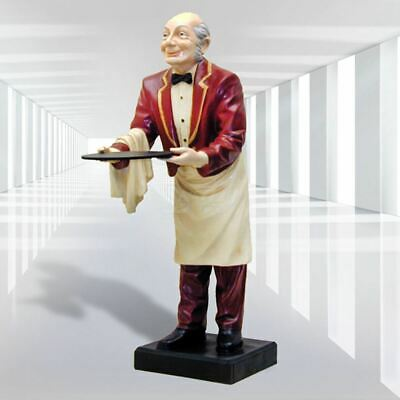 Ober Kellner Speisekarte Tafel 133cm Restaurant Figur Fiberglas handbem. HP031