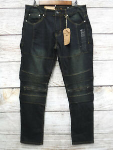 Ring-of-Fire-Jeans-Mens-31X30-Treasure-Slim-Straight-Stretch-Moto-Jeans-New