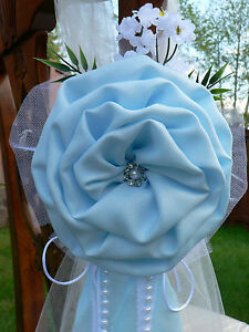 Details About Wedding Decor Chair Bows Pew Bows Blue White Church Aisle Decoration