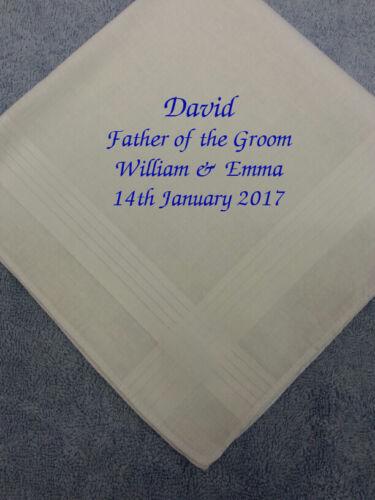 PERSONALISED MENS HANDKERCHIEF HANKIE WEDDING GIFT FATHER OF THE GROOM PRESENT