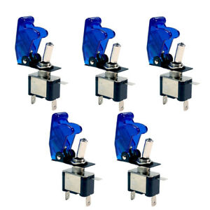 5-X-12V-20A-20Amp-Blue-Cover-LED-Light-Toggle-Switch-SPST-ON-OFF-Car-Auto-Boat