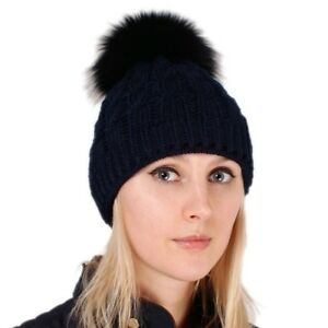 Navy Blue Wool Hat with Black Fox Fur Pom Pom! Beanie Winter Cap ... b88e589e3f53