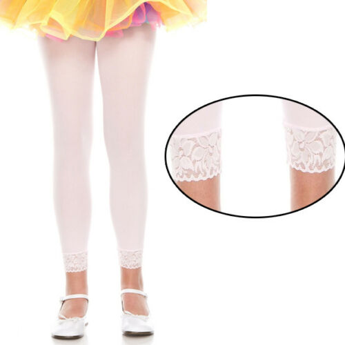 Opaque Solid Pink Tights Costume Cosplay Halloween Footless Lace Trim Pantyhose