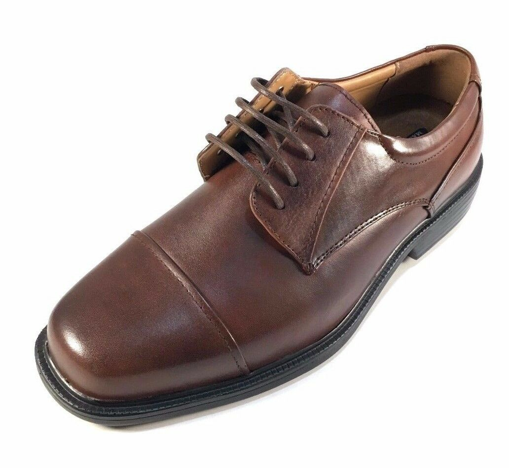 La Milano A1718 Brown Leather Comfort Lace Up Extra Wide (EEE) Men's Dress shoes