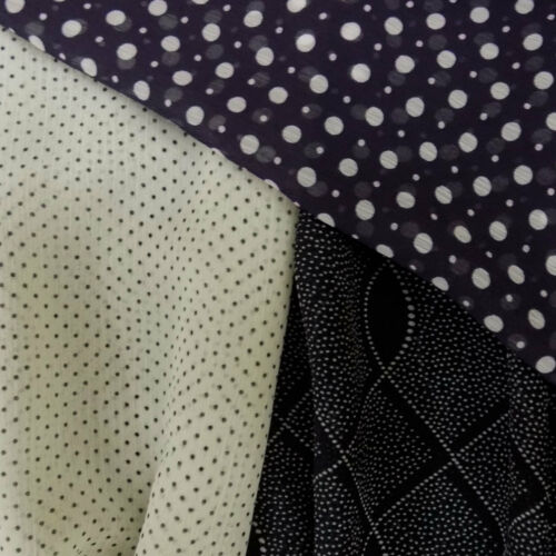 Soft Yoryu Crinkle mousseline polyester Dressmaking Fabric With Spots /& Dots