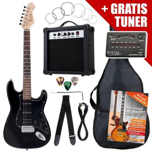 E-Gitarre Einsteiger Set + Stimmgerät Gigbag Tragetasche für werdende Headbanger