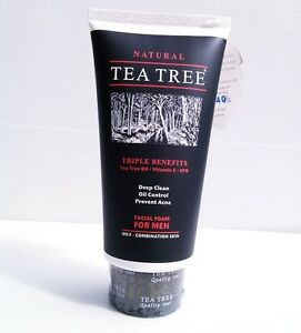 Details about TRIPLE BENEFITS TEA TREE Natural For Men Foam Deep Cleanser Face Wash Skin Acne