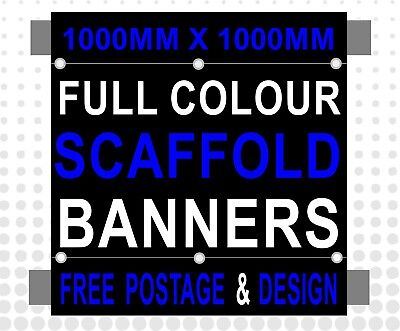 1300mm x 1300mm PVC PRINTED SCAFFOLDING BANNERS SIGN with pole hems FREE POSTAGE