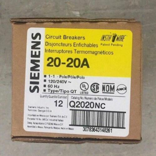 12 Pack BRAND NEW SIEMENS Q2020NC 20//20A 120//240 Volt Tandem Circuit Breakers