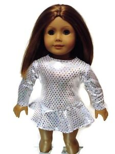 Sparkly Silver Ice Skating Outfit fits American Girl 18 inch Doll Clothes