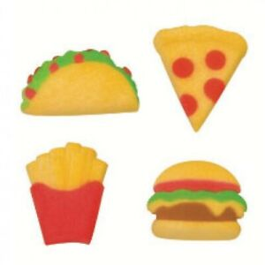 24 Junk Food Fast Food Cupcake Toppers Pizza, Taco,Burger,French Fries Mcdonalds