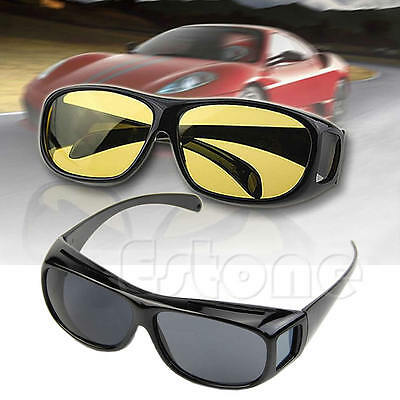 HD Night Vision Unisex Driving Sunglasses Yellow Lens Over Wrap Around Glasses