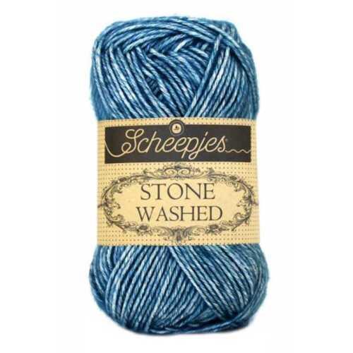 Scheepjes hilos: piedra lavada #805: mezcla de algodón 805-Azul Apatita