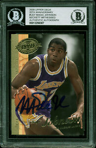 Lakers-Magic-Johnson-Signed-2008-Upper-Deck-20th-Anniversary-UD7-Card-BAS-Slab