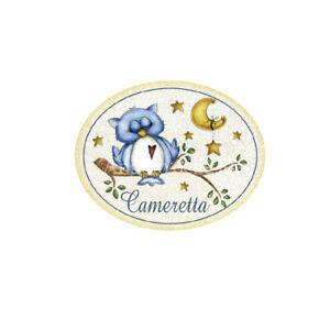 Targhetta-in-legno-Ovale-con-passamaneria-CAMERETTA-Bambino-casa-gufi-Made-in-it