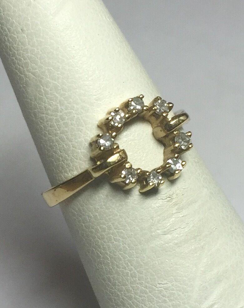 Vintage 597ms Nos Nos Nos 14K Ylw oro Originale 0.15 Carato Tw Diamante da Donna 7f18ef
