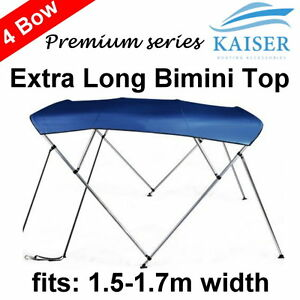 Extra-Long-4-Bow-1-5m-1-7m-Boat-Bimini-Top-Canopy-Cover-Rear-Poles-Sock-Blue